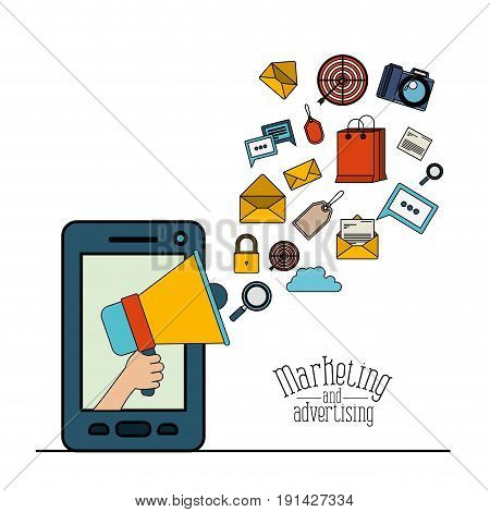 white background with smartphone and megaphone with elements web marketing and advertising vector illustration