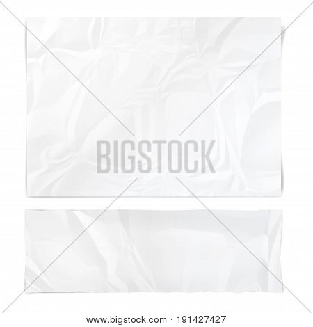 Realistic white sheets of crumpled paper. Wrinkled papers texture. Template backgrounds for your text. Vector illustration