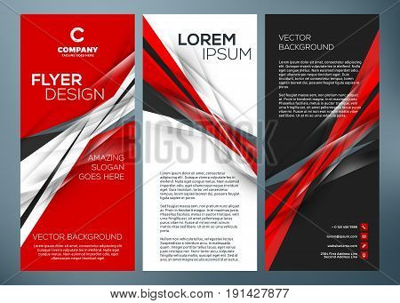Vector Business Trifold Brochure Or Banner Template. Abstract Red And Black Background. Vector Illus