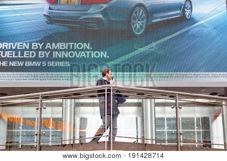 Car Commercial Displayed On A Outdoor Screen In Canary Wharf