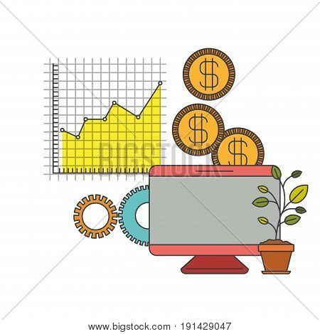 white background with colorful display computer grid with graphics growth economy vector illustration