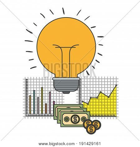 white background with colorful light bulb idea and grid with graphics growth economy vector illustration