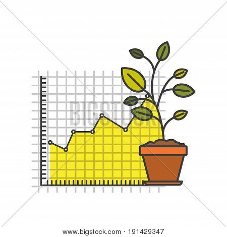 white background with colorful plantpot and grid with graphics growth economy vector illustration