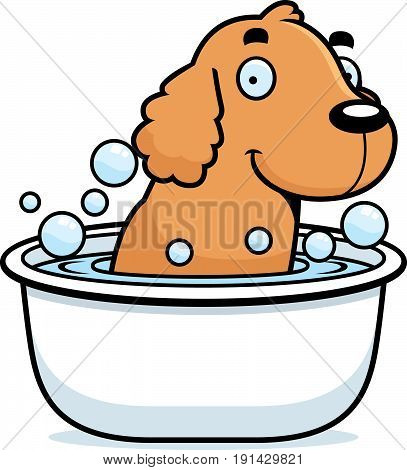 Cartoon Cocker Spaniel Bath