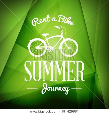 Bycicle rental summer badge. Typographic retro style label with green background. Rental agency concept travel illustration