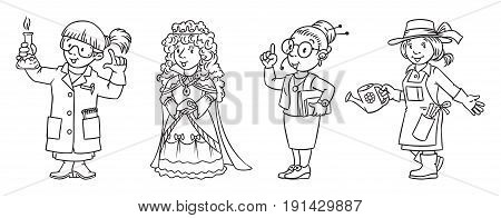 Woman. Coloring picture or coloring book set of funny chemist, queen, inerpreter or secretary and gardener. Profession series. Childrens vector illustration.