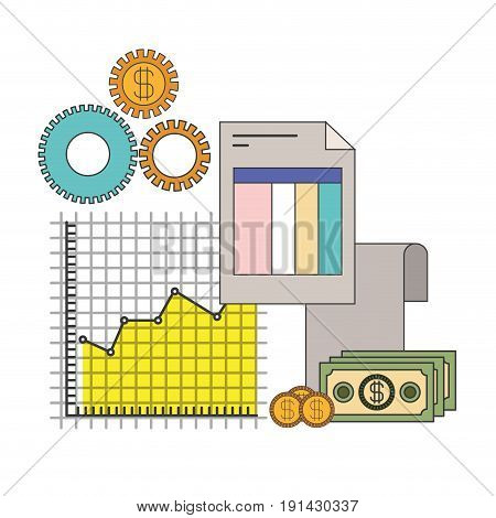 white background with colorful set graphics growth economy vector illustration