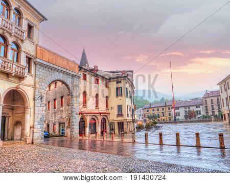View of the Arch of Piazza Marc Antonio Flaminio in village of Serravalle, Vittorio Veneto
