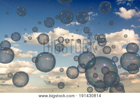 3d illustration of many bubbles floating in the sky