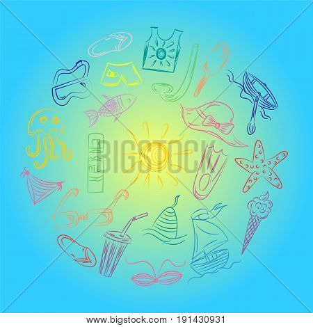 Hand Drawings of Summer Vacancies Symbols. Colorful Doodle Boats Ice cream Palms Hat Umbrella Jellyfish Cocktail Sun Arranged in a Circle on Blue. Vector Illustration.