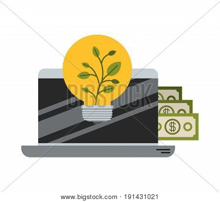 white background with colorful laptop with bills and plantpot vector illustration