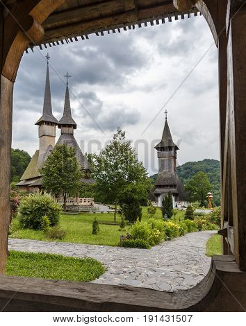 Barsana monastery, wooden church, one of the main attractions in Maramures, Romania