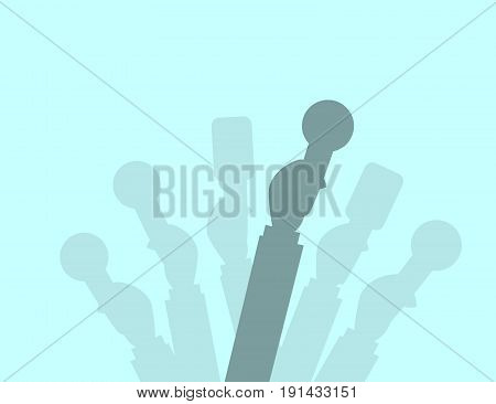Set of Microphones silhouettes. Journalism concept Mass Media TV Interview Breaking News press conference concept. Microphones in reporter hands. Vector Flat design.