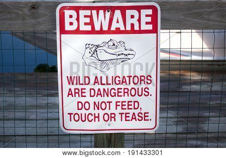 Beware of alligators sign in Florida USA