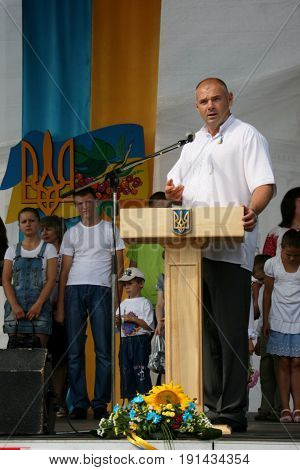 LUTSK, UKRAINE - 24 August 2012: People's deputy of Ukraine Ihor Palytsia delivers a speech during the celebration of Independence Day
