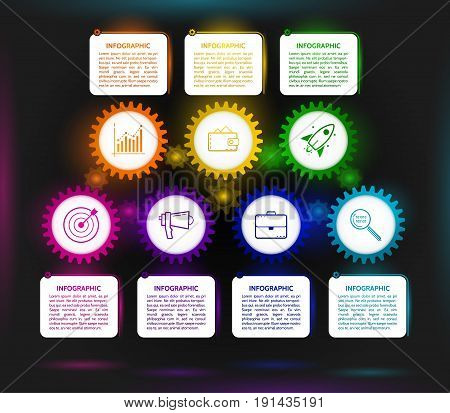 Dark abstract gears infographic. Mechanism with integrated gears and icons for business presentations or information banner. Modern design on the black background. esp 10