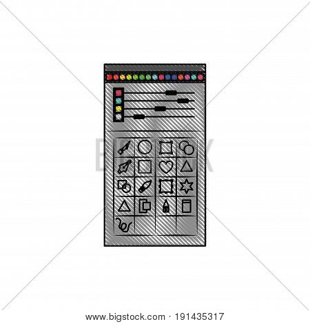 white background with colored crayon silhouette of color palette and tool box for designer graphic vector illustration