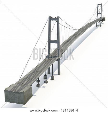 Bosphorus Bridge on white background. 3D illustration
