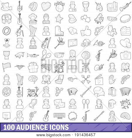 100 audience icons set in outline style for any design vector illustration