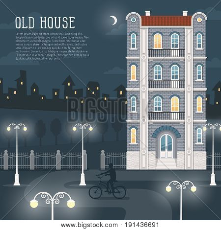 Night cityscape. An old four-story brick house a path illuminated by street lamps the silhouette of a bicyclist. In the background city lights. Illustration is convenient for rearrangement.