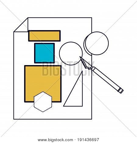 white background with color sections silhouette of sheet with geometric forms and scalpel vector illustration