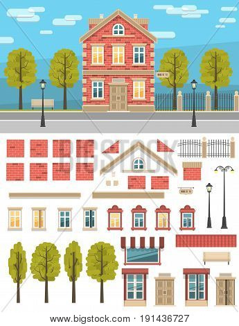 Set of parts for creating a vintage house. As well as some elements of the street - lights fence trees. City landscape.