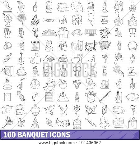 100 banquet icons set in outline style for any design vector illustration