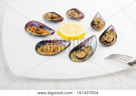 Grilled mussels cooked in the oven accompanied by slices of lemon grated pan and parsley. Mussels cooked on white plate.