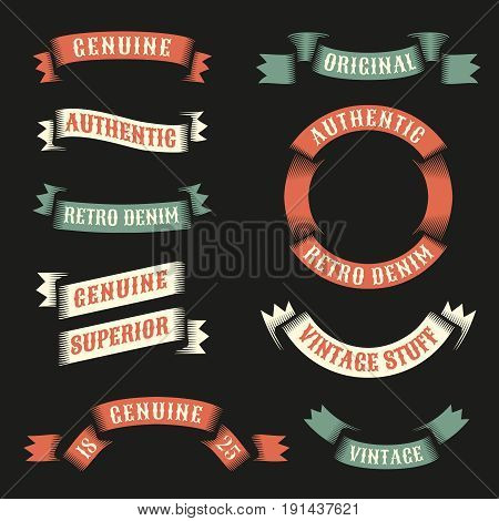 Original vintage ribbons for logo emblems with examples of inscriptions. Vector illustration.