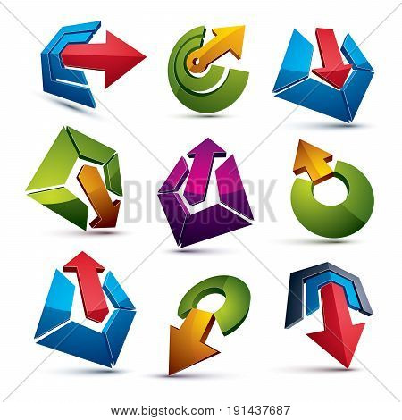 Vector 3D Abstract Icons Set, Simple Corporate Graphic Design Elements. Colorful Marketing Symbols S