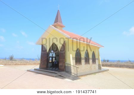 Alto Vista Chapel in Noord Aruba also known as the Pilgrim's Church.