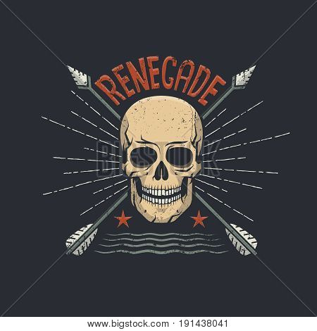 Skull hipster retro emblem with two arrows crossed and renegade word on top. Vector illustration. Worn texture on a separate layer and can be easily disabled.