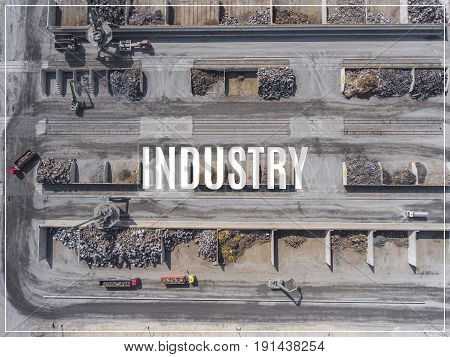 Word Industry.iron Raw Materials Recycling Pile, Work Machines. Metal Waste Junkyard. View From Abov