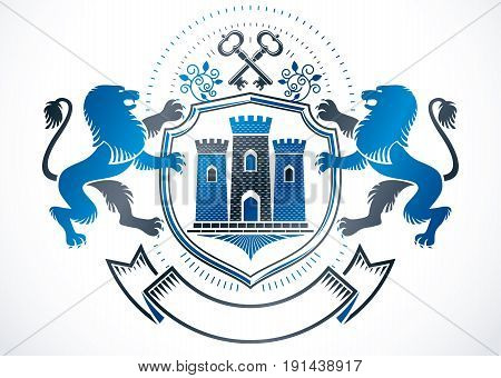 Heraldic sign created using vector vintage elements like wild lion security keys and ancient tower.