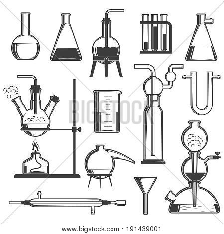 A set of chemical glassware and devices. Black and white vector illustration.