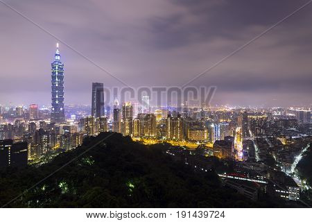 Taipei city landscape at night, taken in Xiangshan, Taipei, Taiwan