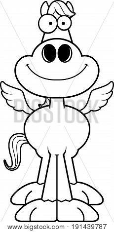 A cartoon illustration of Pegasus horse smiling.