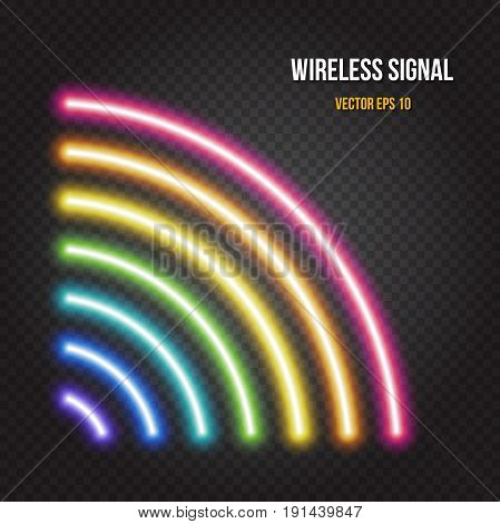 Glowing neon lights wireless or radio signal symbol in rainbow colors on dark transparent background. Easy to change global colors, Vector EPS 10