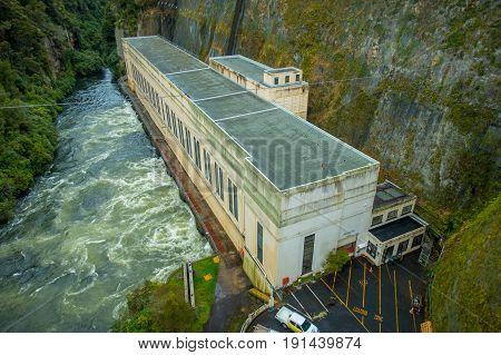 NORTH ISLAND, NEW ZEALAND- MAY 16, 2017: Hydroelectric Power Station on Waikato river, Arapuni, New Zealand.