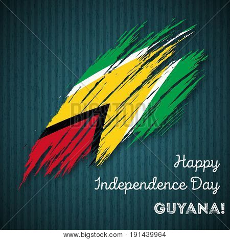 Guyana Independence Day Patriotic Design. Expressive Brush Stroke In National Flag Colors On Dark St