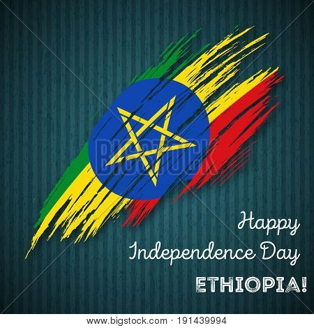 Ethiopia Independence Day Patriotic Design. Expressive Brush Stroke In National Flag Colors On Dark