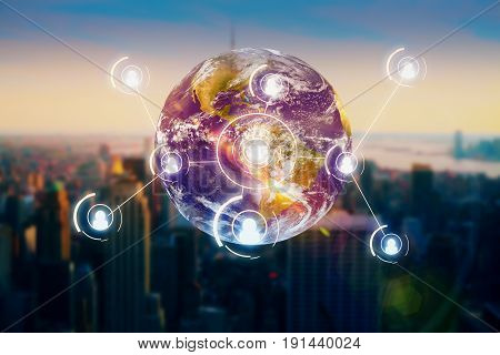 Abstract globe with people icons on city background. Recruiting concept.