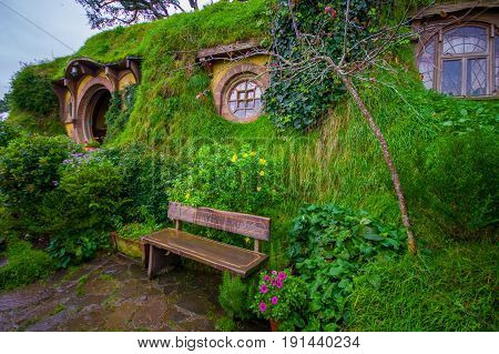 NORTH ISLAND, NEW ZEALAND- MAY 16, 2017: Bag-End, Hobbiton Village, Mata-Mata, New Zealand.
