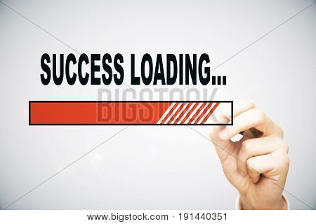 Hand drawing loading success bar on light background