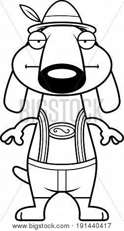 Bored Cartoon Dachshund Lederhosen