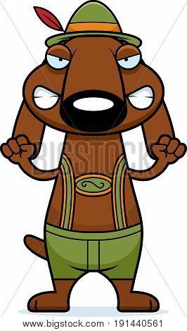 Angry Cartoon Dachshund Lederhosen