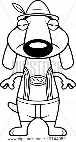 Sad Cartoon Dachshund Lederhosen