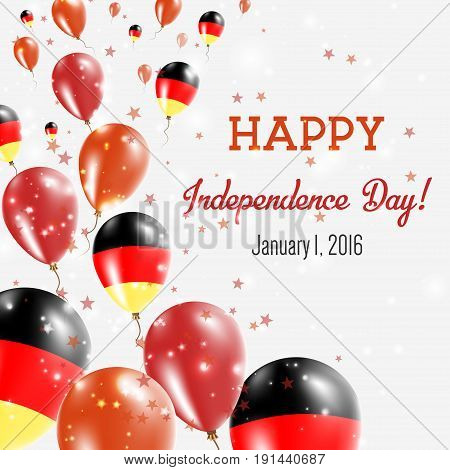 Germany Independence Day Greeting Card. Flying Balloons In Germany National Colors. Happy Independen
