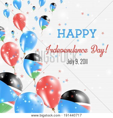South Sudan Independence Day Greeting Card. Flying Balloons In South Sudan National Colors. Happy In