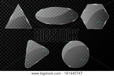 Glass geometric objects with a cyber pattern of honeycomb with blue illumination. A set of blank banners for your projects. Hi-tech in design. Realistic clear glass. Vector illustration. EPS 10